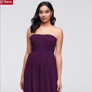 David's Bridal Tulle Style-Your-Way Tie Long Dress